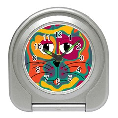 Colorful cat 2  Travel Alarm Clocks