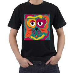Colorful cat 2  Men s T-Shirt (Black) (Two Sided)
