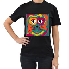 Colorful cat 2  Women s T-Shirt (Black) (Two Sided)