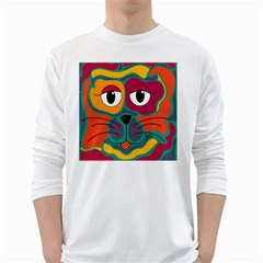 Colorful cat 2  White Long Sleeve T-Shirts