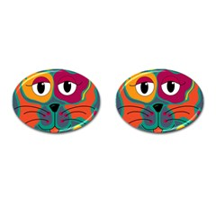 Colorful cat 2  Cufflinks (Oval)