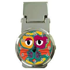 Colorful cat 2  Money Clip Watches