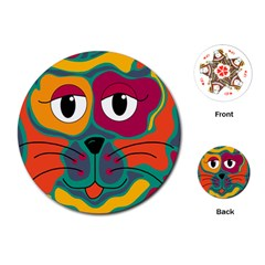 Colorful cat 2  Playing Cards (Round)