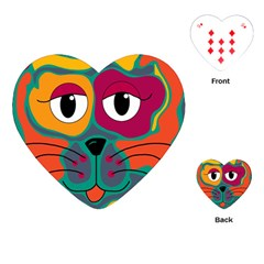 Colorful cat 2  Playing Cards (Heart)