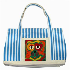Colorful cat 2  Striped Blue Tote Bag
