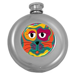 Colorful cat 2  Round Hip Flask (5 oz)