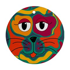Colorful cat 2  Round Ornament (Two Sides)