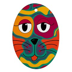 Colorful cat 2  Oval Ornament (Two Sides)