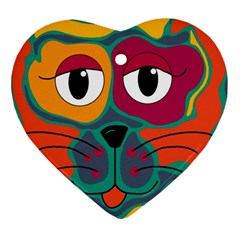 Colorful cat 2  Heart Ornament (2 Sides)