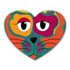 Colorful cat 2  Heart Mousepads