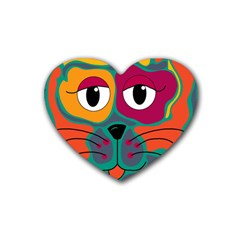 Colorful cat 2  Rubber Coaster (Heart)