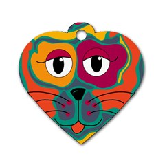 Colorful cat 2  Dog Tag Heart (One Side)