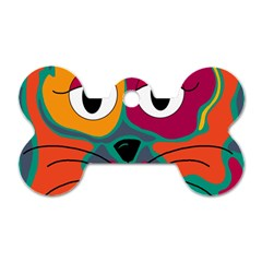 Colorful cat 2  Dog Tag Bone (Two Sides)