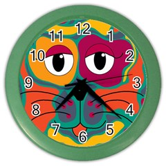 Colorful cat 2  Color Wall Clocks