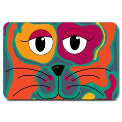 Colorful cat 2  Large Doormat
