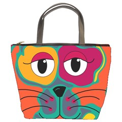 Colorful cat 2  Bucket Bags