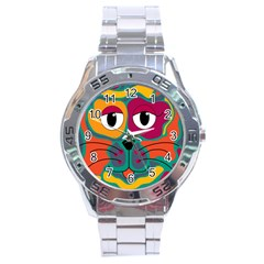 Colorful cat 2  Stainless Steel Analogue Watch