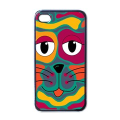 Colorful cat 2  Apple iPhone 4 Case (Black)