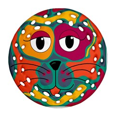 Colorful cat 2  Round Filigree Ornament (2Side)