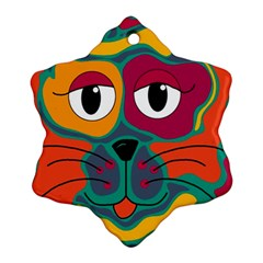 Colorful cat 2  Snowflake Ornament (2-Side)