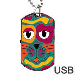 Colorful cat 2  Dog Tag USB Flash (One Side)