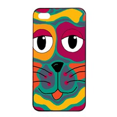 Colorful cat 2  Apple iPhone 4/4s Seamless Case (Black)