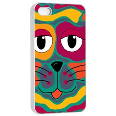 Colorful cat 2  Apple iPhone 4/4s Seamless Case (White)