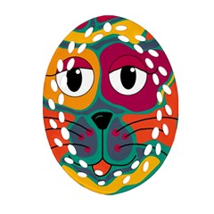 Colorful cat 2  Oval Filigree Ornament (2-Side)