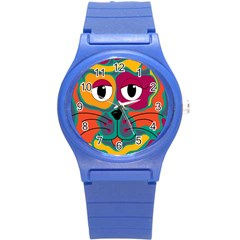 Colorful cat 2  Round Plastic Sport Watch (S)