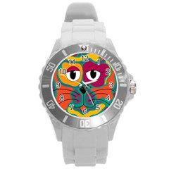 Colorful cat 2  Round Plastic Sport Watch (L)