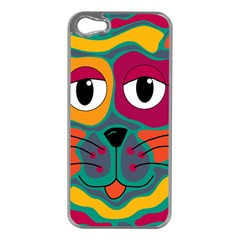 Colorful cat 2  Apple iPhone 5 Case (Silver)