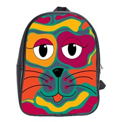 Colorful cat 2  School Bags (XL)