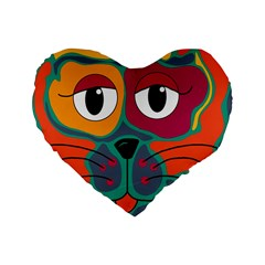 Colorful cat 2  Standard 16  Premium Heart Shape Cushions