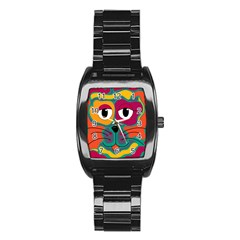 Colorful cat 2  Stainless Steel Barrel Watch