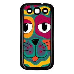 Colorful cat 2  Samsung Galaxy S3 Back Case (Black)