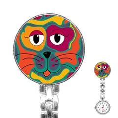 Colorful cat 2  Stainless Steel Nurses Watch