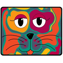 Colorful cat 2  Double Sided Fleece Blanket (Medium)