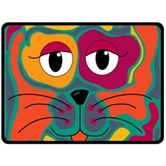 Colorful cat 2  Double Sided Fleece Blanket (Large)
