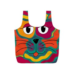 Colorful cat 2  Full Print Recycle Bags (S)