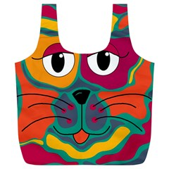 Colorful cat 2  Full Print Recycle Bags (L)