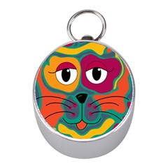Colorful cat 2  Mini Silver Compasses