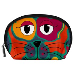 Colorful cat 2  Accessory Pouches (Large)