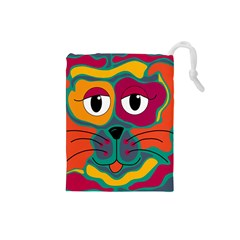 Colorful cat 2  Drawstring Pouches (Small)