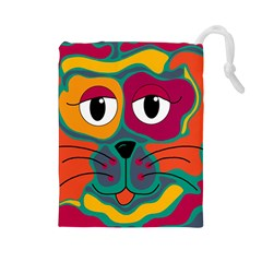Colorful cat 2  Drawstring Pouches (Large)