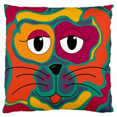 Colorful cat 2  Large Flano Cushion Case (One Side)