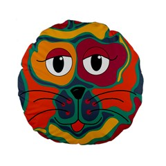 Colorful cat 2  Standard 15  Premium Flano Round Cushions