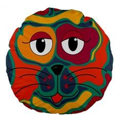 Colorful cat 2  Large 18  Premium Flano Round Cushions