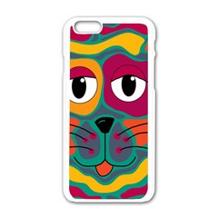 Colorful cat 2  Apple iPhone 6/6S White Enamel Case