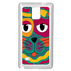 Colorful cat 2  Samsung Galaxy Note 4 Case (White)