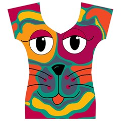 Colorful cat 2  Women s V-Neck Cap Sleeve Top